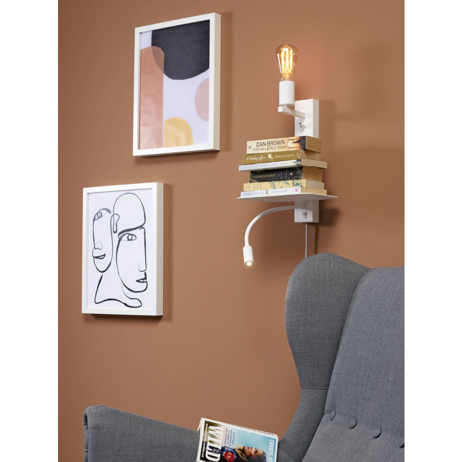 Wandlamp FLORENCE Large: met sfeerlicht, leeslamp, boekenplank en usb-oplader-4