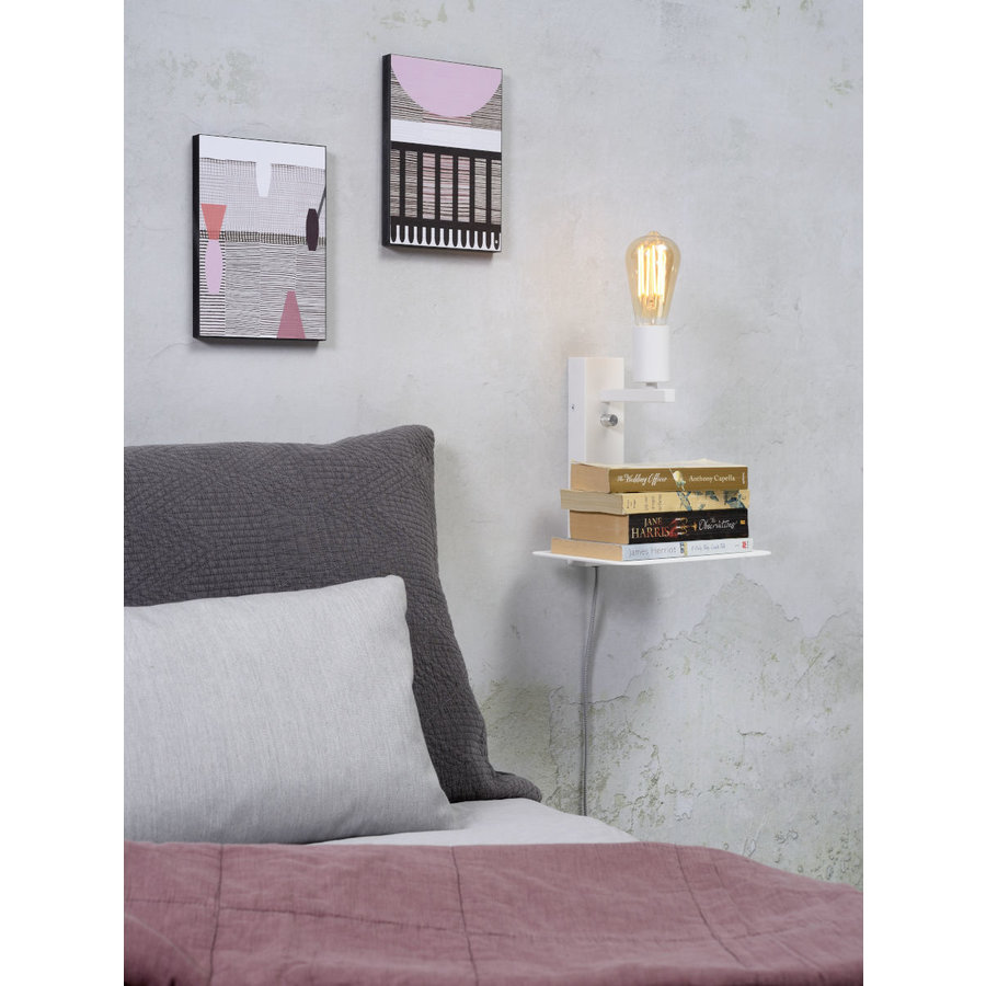 Wandlamp FLORENCE Small: met boekenplank en usb-oplader-5