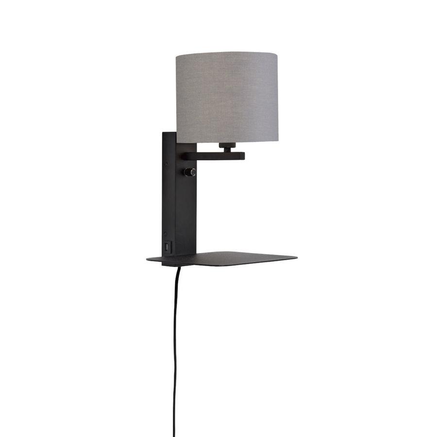 Wandlamp FLORENCE Medium: met lampenkap, boekenplank en usb-oplader-2