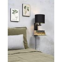 thumb-Wandlamp FLORENCE Medium: met lampenkap, boekenplank en usb-oplader-1