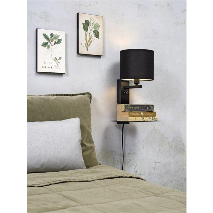 Wandlamp FLORENCE Medium: met lampenkap, boekenplank en usb-oplader-1
