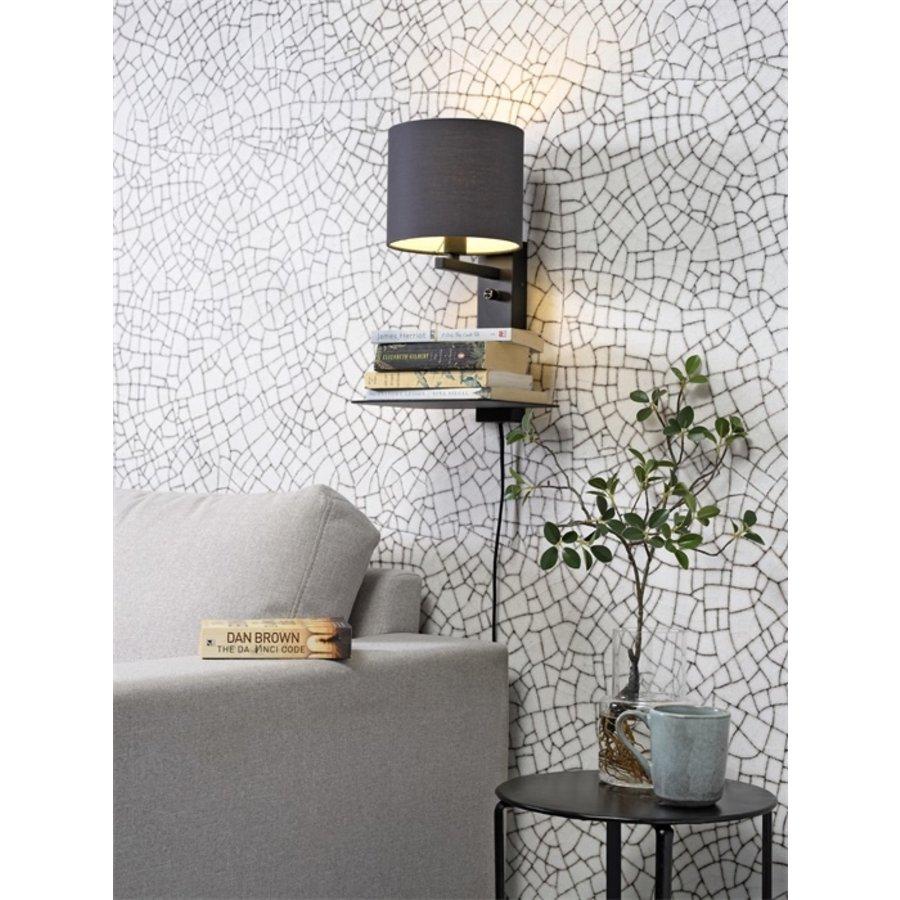 Wandlamp FLORENCE Medium: met lampenkap, boekenplank en usb-oplader-5