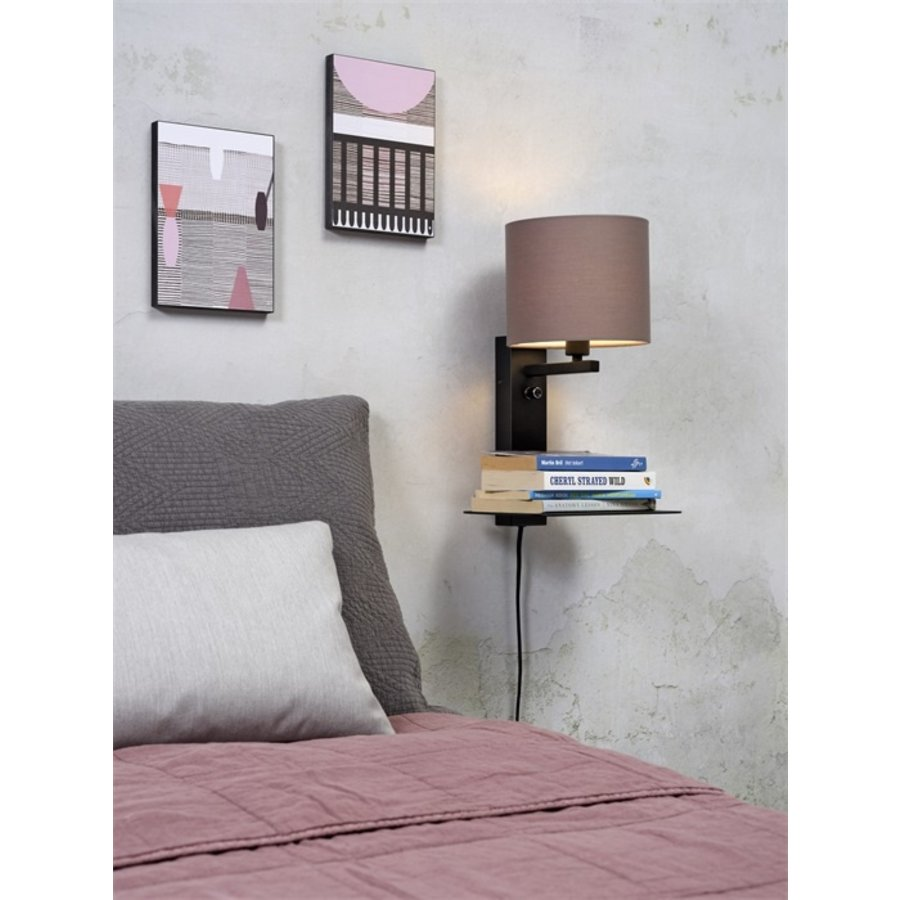 Wandlamp FLORENCE Medium: met lampenkap, boekenplank en usb-oplader-9