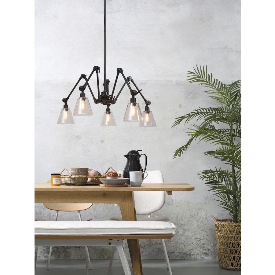 Kroonluchter Amsterdam met glazen lampenkappen-2