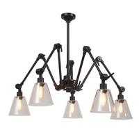 thumb-Kroonluchter Amsterdam met glazen lampenkappen-1