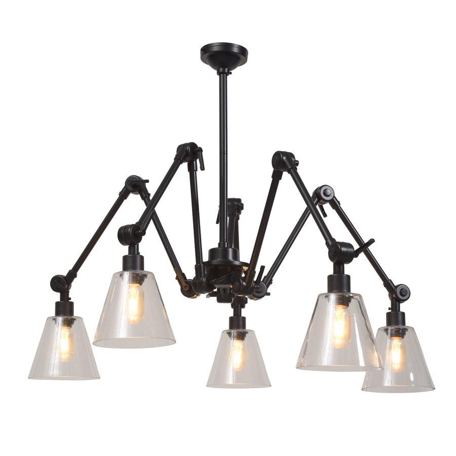 Kroonluchter Amsterdam met glazen lampenkappen-1