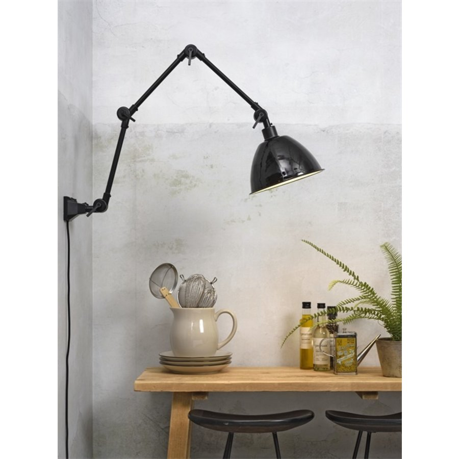 Wandlamp / Plafondlamp Amsterdam metaal zwart (maat L)-6