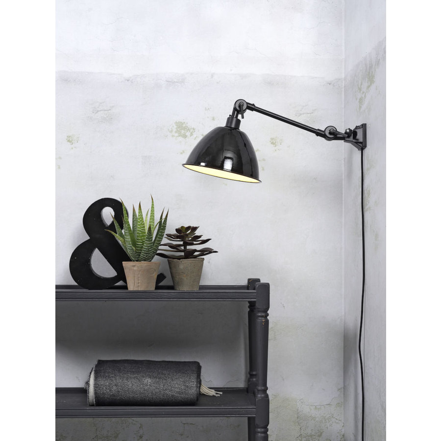 Wandlamp / Plafondlamp Amsterdam metaal zwart (maat S)-2