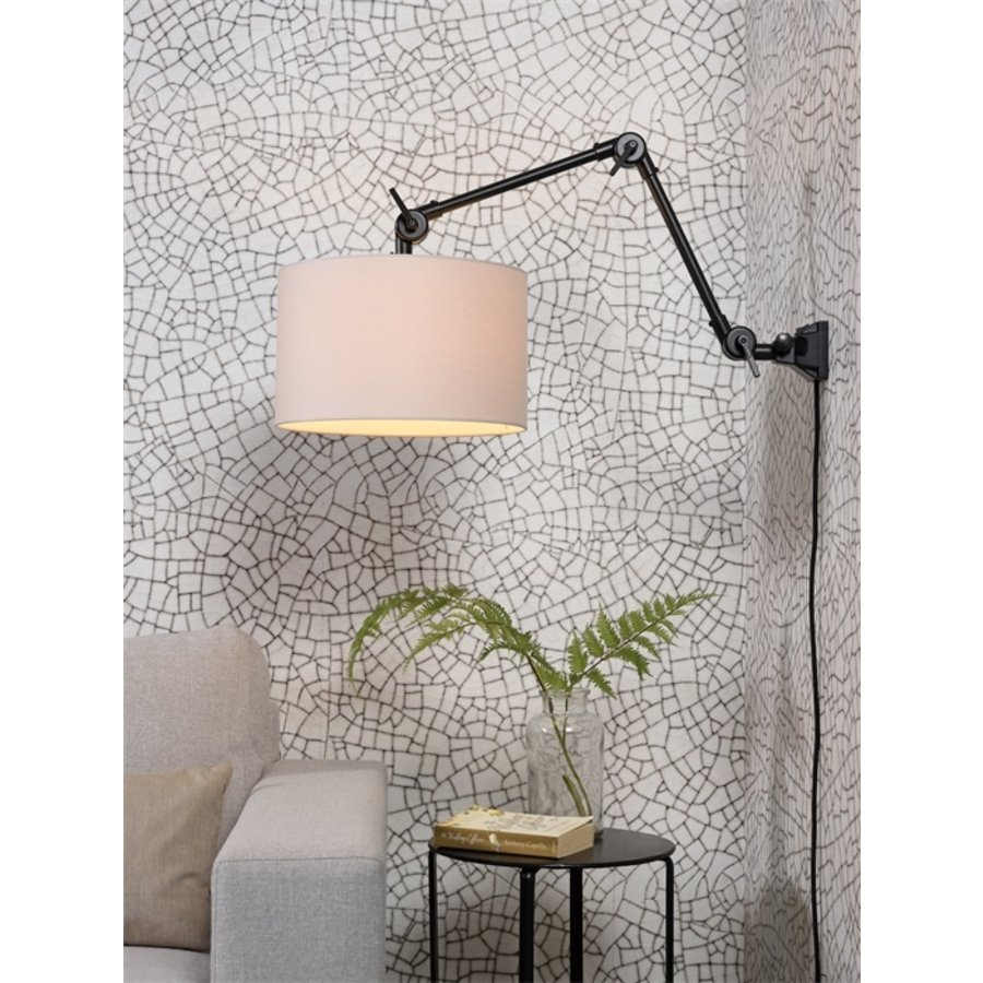 Plafond/wandlamp Amsterdam M met lampenkap textiel L-4