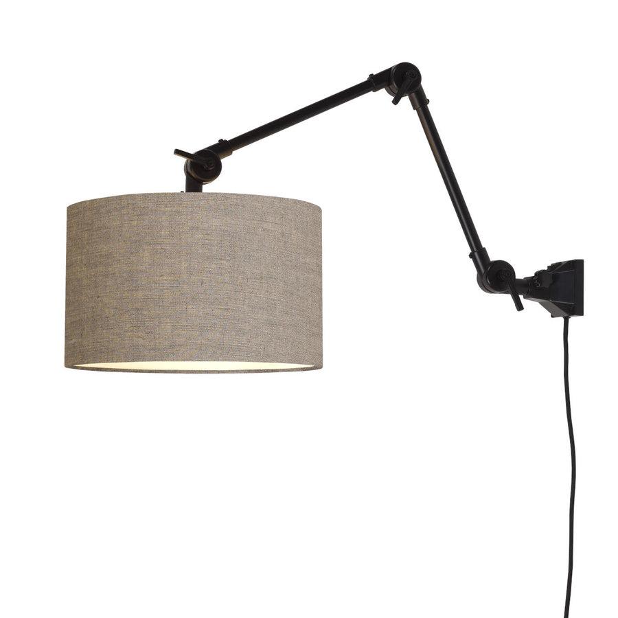 Plafond/wandlamp Amsterdam M met lampenkap textiel L-9