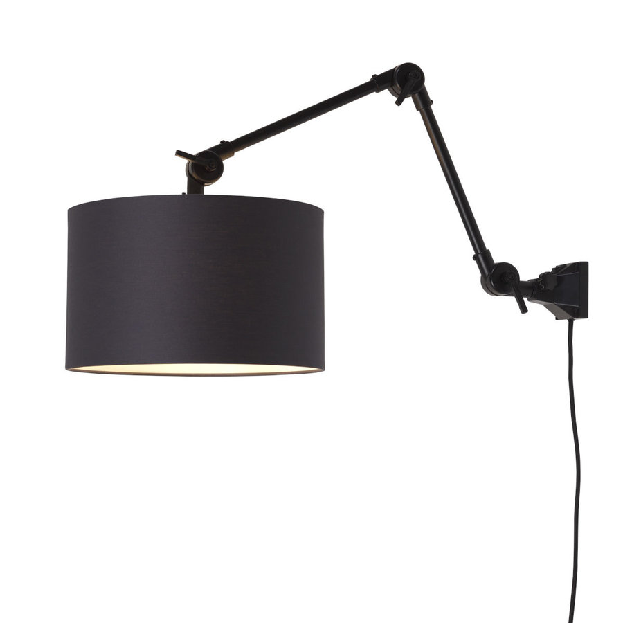 Plafond/wandlamp Amsterdam M met lampenkap textiel L-2