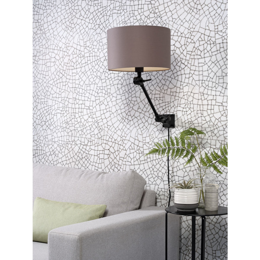 Plafond/wandlamp Amsterdam S met lampenkap textiel L-7