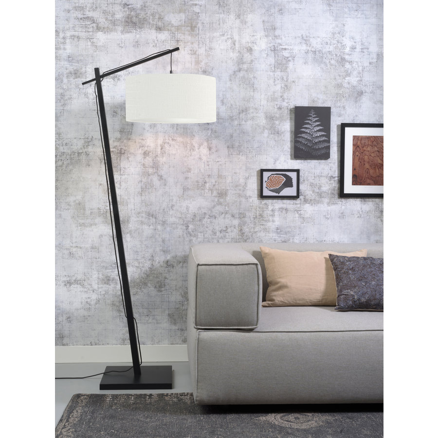 Vloerlamp Andes bamboe zw. h.176cm/kap 47x23cm ecolin. wit-2