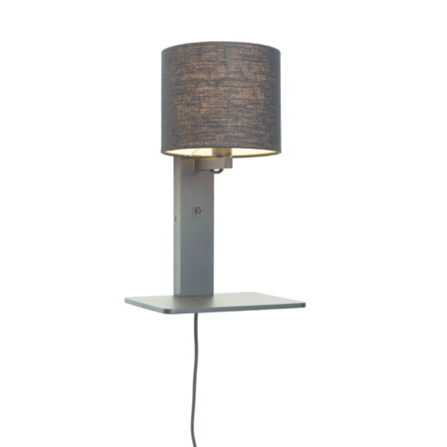 Wandlamp Andes bamboe zw. plank/kap 18x15cm ecolin. zw. / let op: geen USB-1