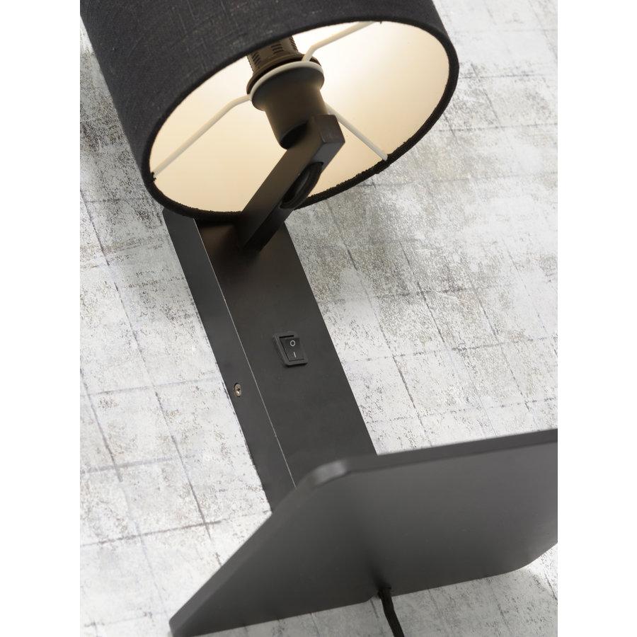 Wandlamp Andes bamboe zw. plank/kap 18x15cm ecolin. zw. / let op: geen USB-5