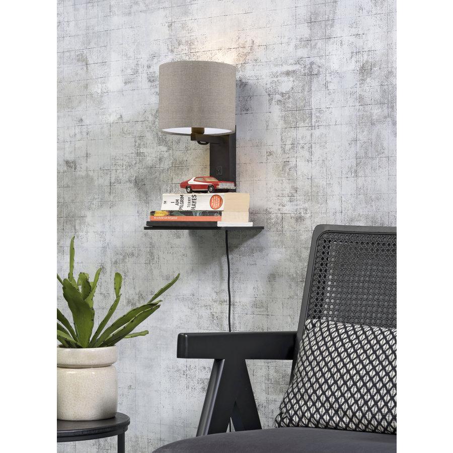 Wandlamp Andes bamboe zw. plank/kap 18x15cm ecolin. donker-3