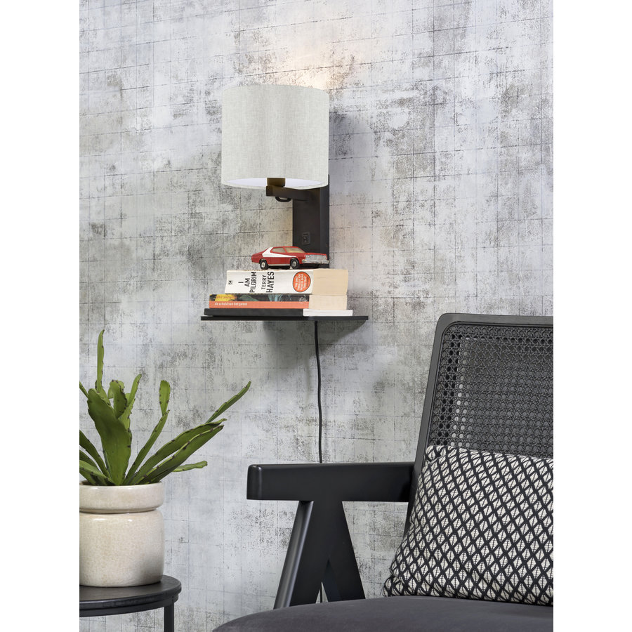 Wandlamp Andes bamboe zw. plank/kap 18x15cm ecolin. licht-3