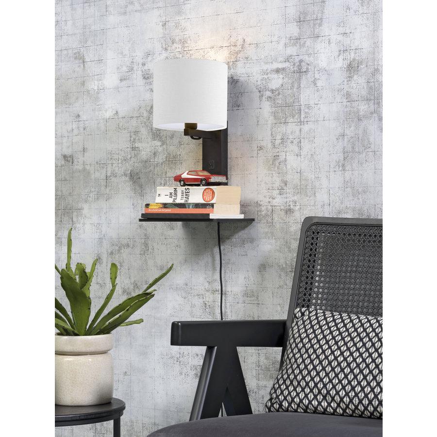 Wandlamp Andes bamboe zw. plank/kap 18x15cm ecolin. wit-3
