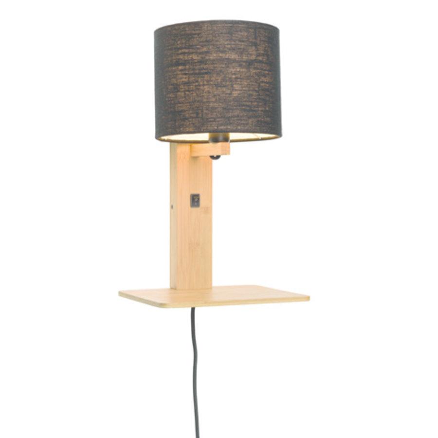 Wandlamp Andes bamboe nat. plank/kap 18x15cm ecolin. zw.-1