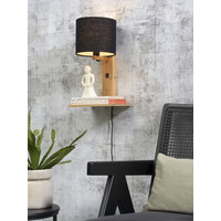 thumb-Wandlamp Andes bamboe nat. plank/kap 18x15cm ecolin. zw.-3