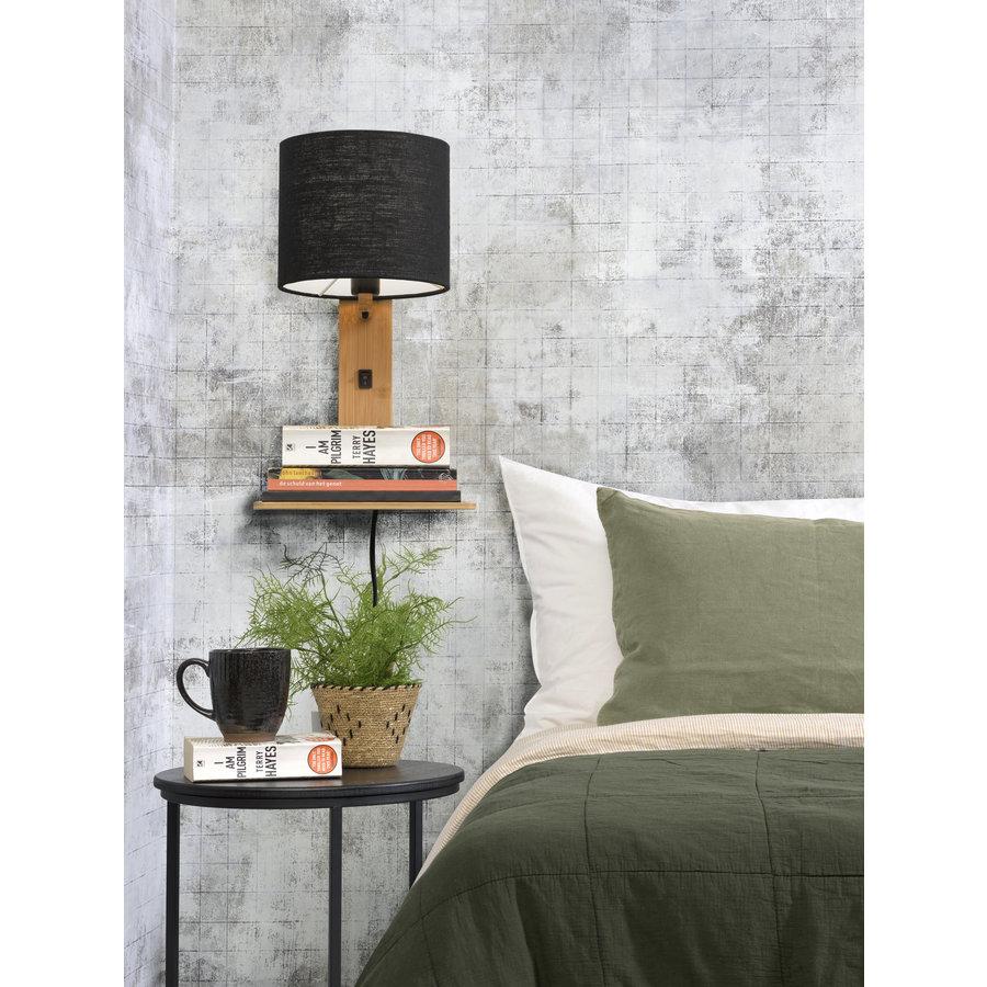 Wandlamp Andes bamboe nat. plank/kap 18x15cm ecolin. zw.-4