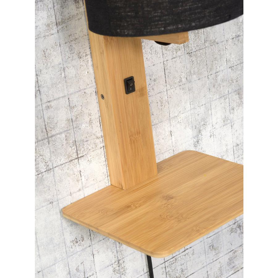 Wandlamp Andes bamboe nat. plank/kap 18x15cm ecolin. zw.-5