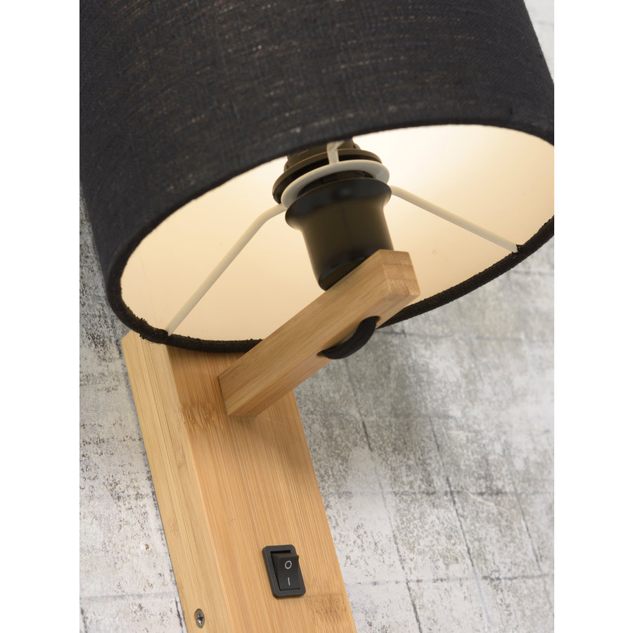 Wandlamp Andes bamboe nat. plank/kap 18x15cm ecolin. zw.-6