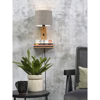thumb-Wandlamp Andes bamboe nat. plank/kap 18x15cm ecolin. donker-2