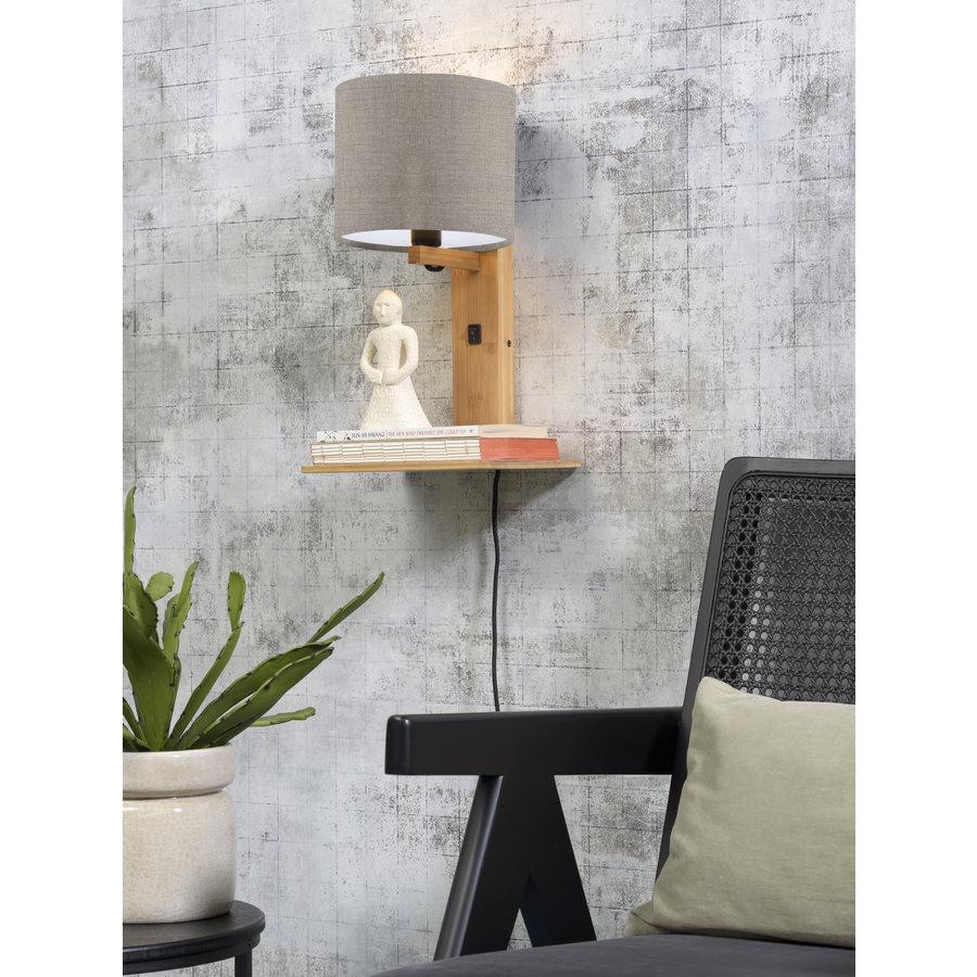 Wandlamp Andes bamboe nat. plank/kap 18x15cm ecolin. donker-3