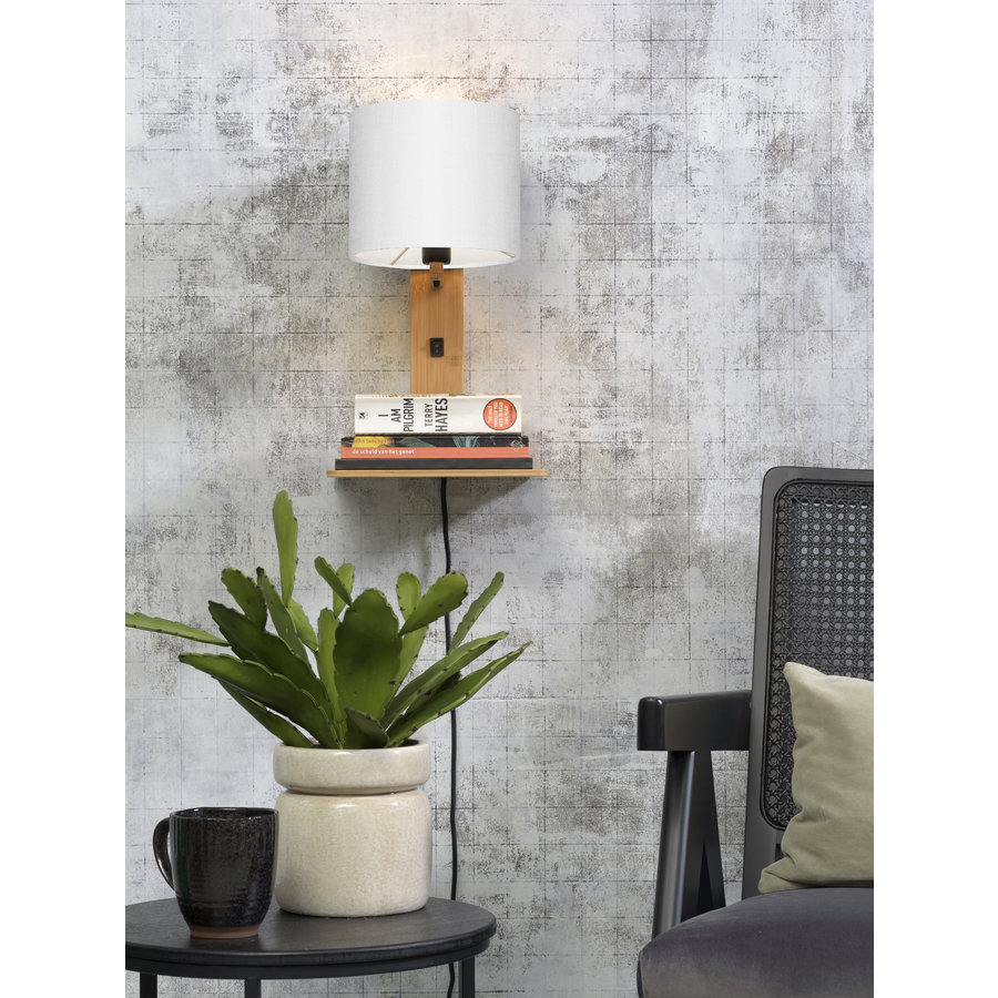 Wandlamp Andes bamboe nat. plank/kap 18x15cm ecolin. wit-2