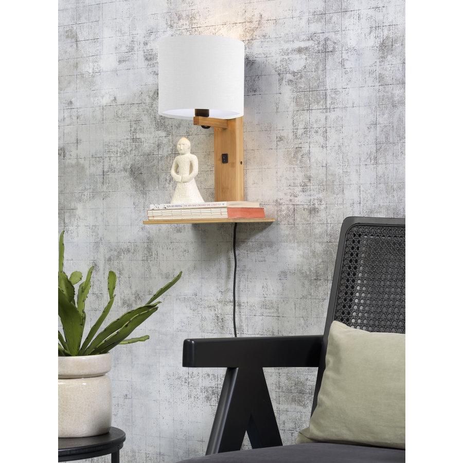 Wandlamp Andes bamboe nat. plank/kap 18x15cm ecolin. wit-3