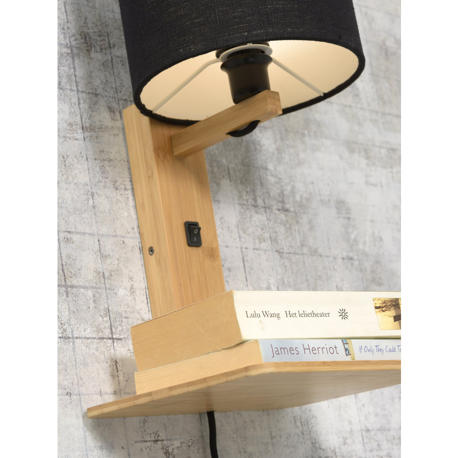 Wandlamp Andes bamboe nat. plank/kap 18x15cm ecolin. wit-7