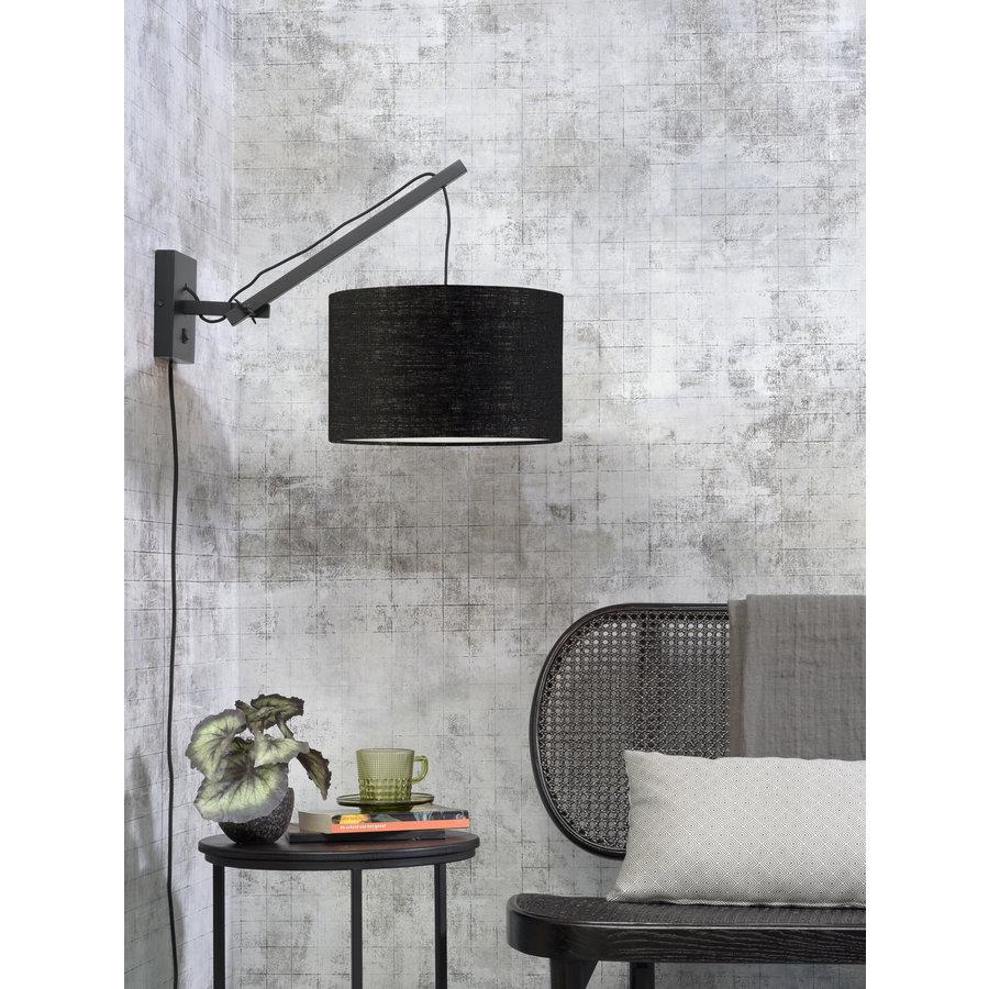 Wandlamp Andes bamboe zwart/kap 32x20cm ecolin. zw.,S-2