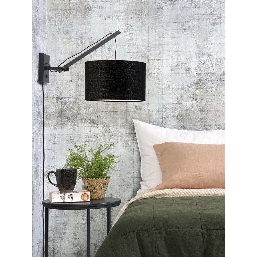 Wandlamp Andes bamboe zwart/kap 32x20cm ecolin. zw.,S-3
