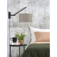 thumb-Wandlamp Andes bamboe zwart/kap 32x20cm ecolin. donker, S-3