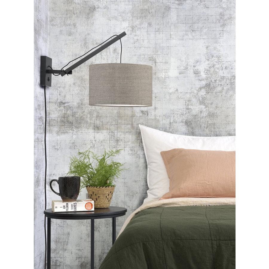 Wandlamp Andes bamboe zwart/kap 32x20cm ecolin. donker, S-3