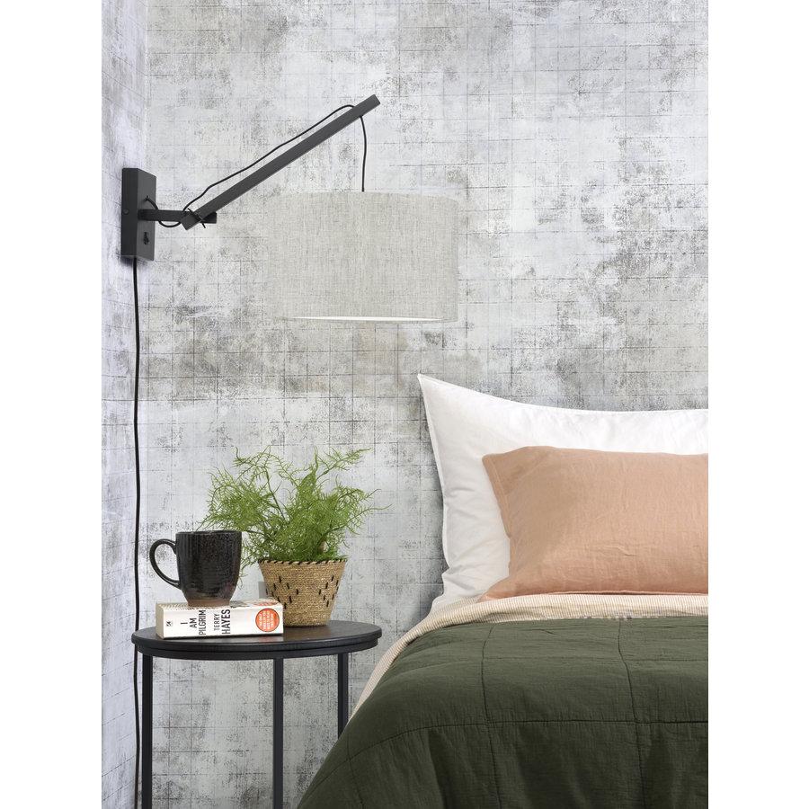 Wandlamp Andes bamboe zwart/kap 32x20cm ecolin. licht, S-3