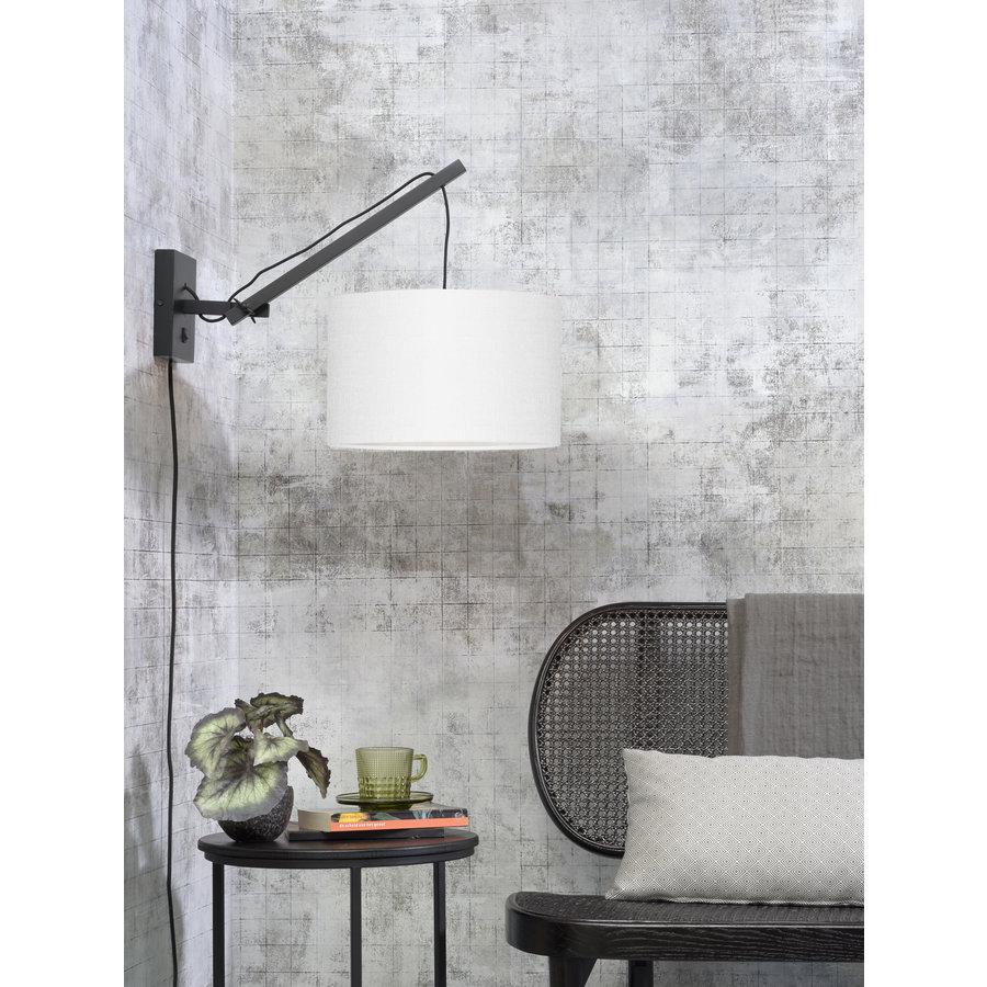 Wandlamp Andes bamboe zwart/kap 32x20cm ecolin. wit, S-2