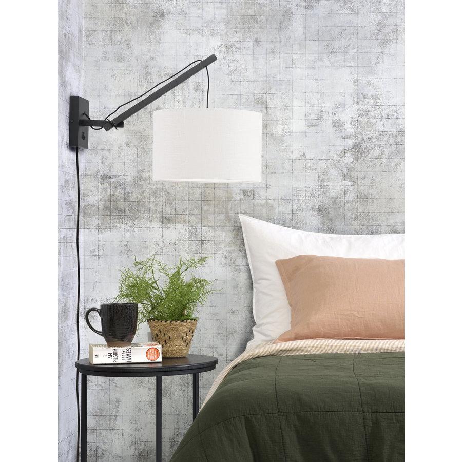 Wandlamp Andes bamboe zwart/kap 32x20cm ecolin. wit, S-3