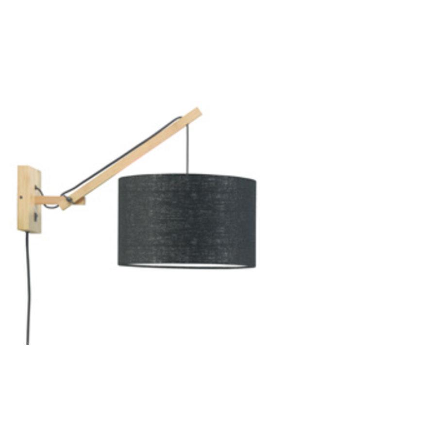 Wandlamp Andes bamboe nat./kap 32x20cm eco linnen zw., S-1