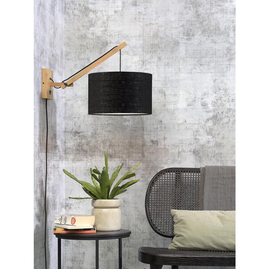 Wandlamp Andes bamboe nat./kap 32x20cm eco linnen zw., S-2