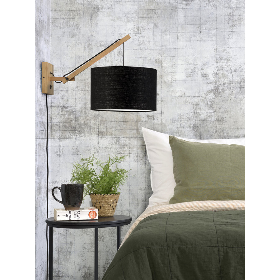 Wandlamp Andes bamboe nat./kap 32x20cm eco linnen zw., S-3
