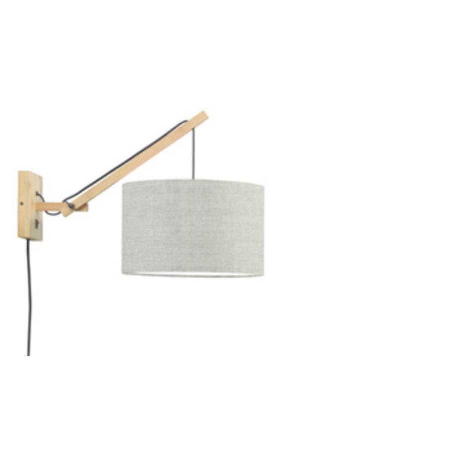 Wandlamp Andes bamboe nat./kap 32x20cm eco linnen donker, S-1