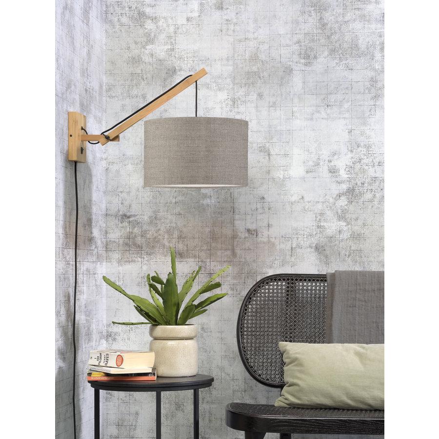 Wandlamp Andes bamboe nat./kap 32x20cm eco linnen donker, S-2