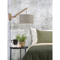 thumb-Wandlamp Andes bamboe nat./kap 32x20cm eco linnen donker, S-3