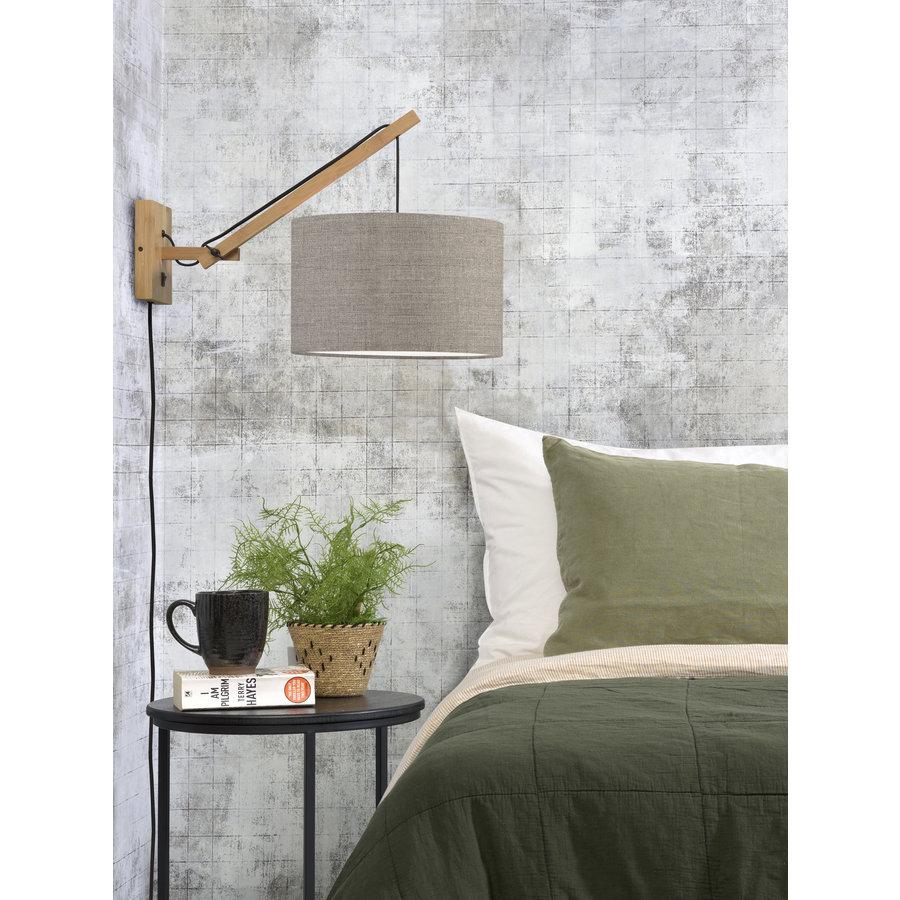 Wandlamp Andes bamboe nat./kap 32x20cm eco linnen donker, S-3