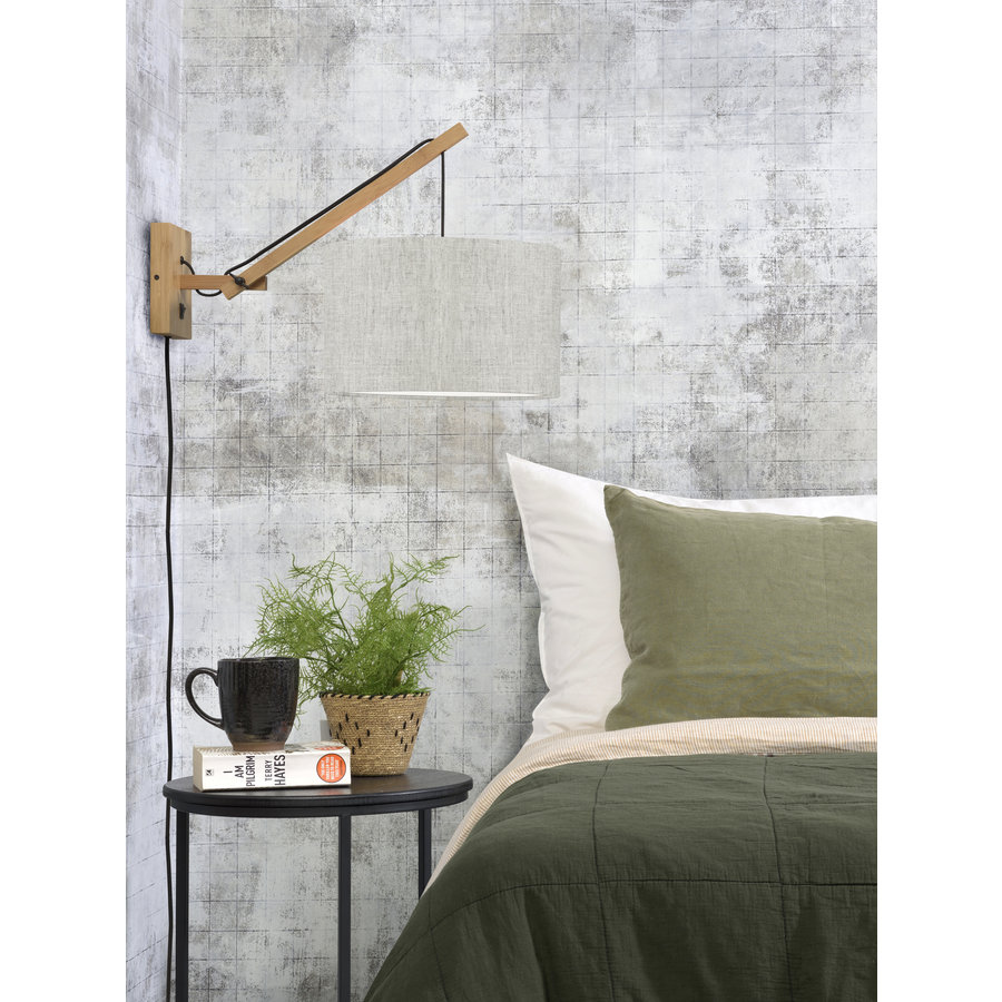 Wandlamp Andes bamboe nat./kap 32x20cm eco linnen licht, S-3