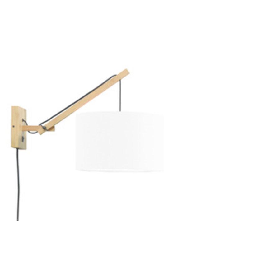 Wandlamp Andes bamboe nat./kap 32x20cm eco linnen wit, S-1
