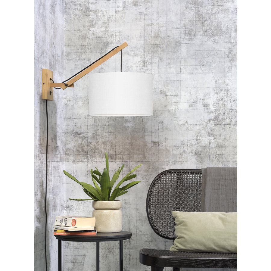 Wandlamp Andes bamboe nat./kap 32x20cm eco linnen wit, S-2