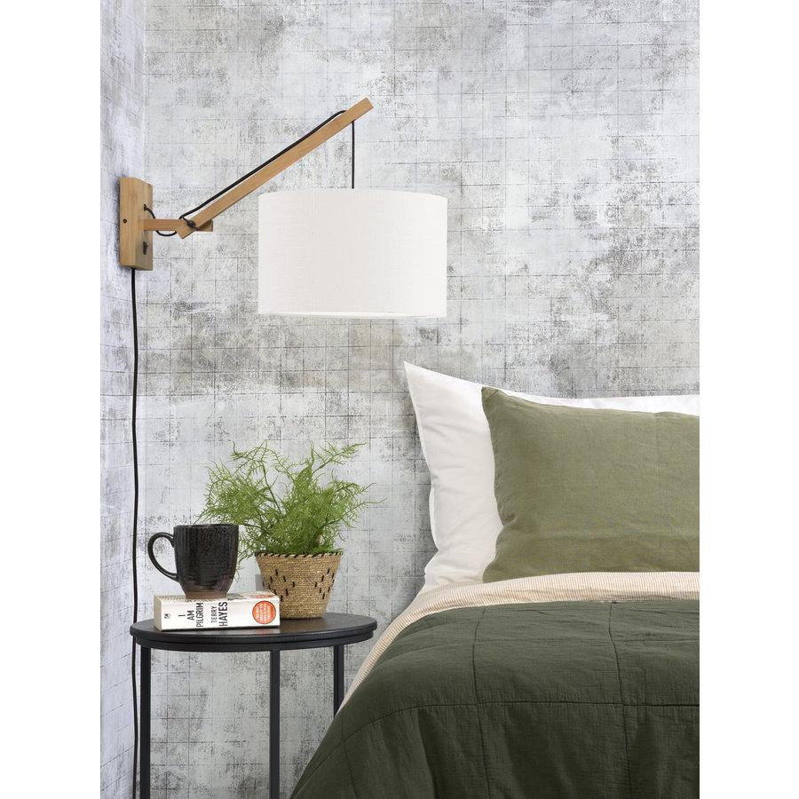 Wandlamp Andes bamboe nat./kap 32x20cm eco linnen wit, S-3